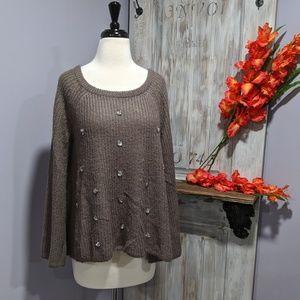 Lauren Conrad oversized gray flared sweater